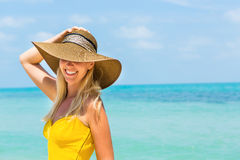 Beautiful lady on the beach Royalty Free Stock Image