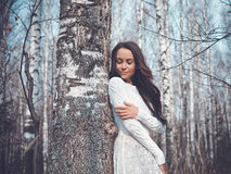 Beautiful lady in a birch forest. Outdoor fashion photo of young beautiful lady in a birch forest Royalty Free Stock Image