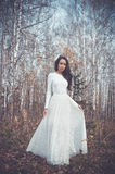 Beautiful lady in a birch forest Royalty Free Stock Photo