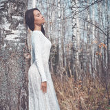Beautiful lady in a birch forest Royalty Free Stock Photography