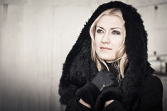 Beautiful Lady in Black Coat Royalty Free Stock Photography