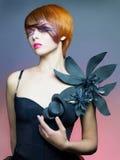 Beautiful lady in black dress royalty free stock photo