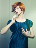Beautiful lady in black dress stock image