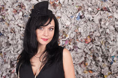 Beautiful lady in black hat Stock Image