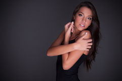 Beautiful lady with black undershirt Royalty Free Stock Images