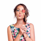 Beautiful lady blows a kiss, isolated on white Royalty Free Stock Photos