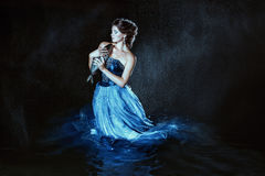 Beautiful lady in blue dress Royalty Free Stock Photo