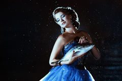 Beautiful lady in blue dress Royalty Free Stock Images