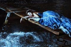 Beautiful lady in blue dress Stock Photos