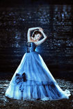 Beautiful lady in blue dress Royalty Free Stock Image