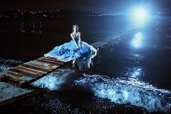 Beautiful lady in blue dress Stock Photo