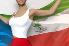 Cute lady in bright skirt holds Equatorial Guinea flag in hands behind her back on the white background - flag concept 3d. Beautiful lady in bright skirt is stock illustration