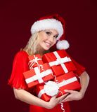 Beautiful lady in Christmas cap Royalty Free Stock Photo