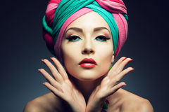 Beautiful lady with colored turban Royalty Free Stock Photo