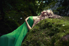 Beautiful lady in the coniferous forest. Portrait of elegant woman with luxurious hair in a coniferous forest Royalty Free Stock Photos