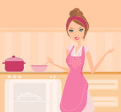 Beautiful lady cooking Royalty Free Stock Photo