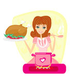 Beautiful lady cooking soup Royalty Free Stock Photo