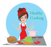 Beautiful lady cooking soup and serving chicken Royalty Free Stock Images