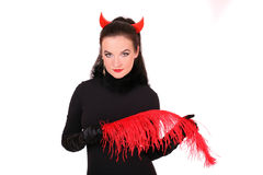 A beautiful lady in a costume of devil Stock Photo