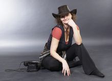 Beautiful lady in a cowboy hat Royalty Free Stock Photography