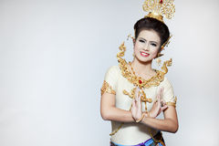 Beautiful lady dancing for original Thai dance Royalty Free Stock Photo