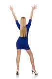 Beautiful lady in dark blue dress isolated on Royalty Free Stock Photography