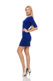 Beautiful lady in dark blue dress isolated on Stock Image