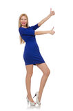 Beautiful lady in dark blue dress isolated on Stock Photo
