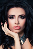 Beautiful Lady with Dark Curly. Perfect Brunette, Event Makeup stock photos