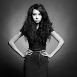 Beautiful lady with dark hair Stock Photography