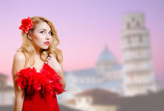 Beautiful lady in dress happy smiling beside Stock Photography