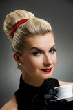 Beautiful lady drinking coffee Stock Photo