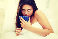 Beautiful lady is drinking coffee Stock Images