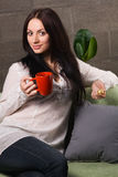 Beautiful lady drinking tea Stock Photos