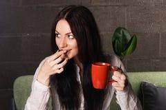 Beautiful lady drinking tea Royalty Free Stock Photo