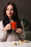 Beautiful lady drinking tea Stock Photography