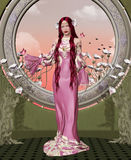 Beautiful lady with elegant pink dres Royalty Free Stock Photography