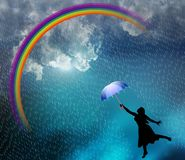 Beautiful lady in the rain. Beautiful lady enjoying in the rain. vector illustration. clouds, rainbow, water drop and an umbrella. many uses for advertising royalty free illustration