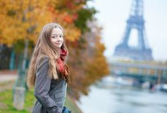 Beautiful lady on a fall day in Paris Stock Image