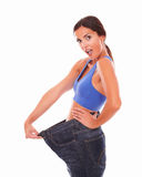 Beautiful lady feeling happy with weight loss Royalty Free Stock Photo
