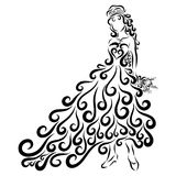 Beautiful lady with a festive hairdo and in a solemn dress.  royalty free illustration