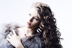 Beautiful lady in fur Royalty Free Stock Photography