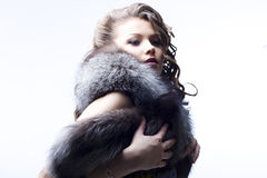 Beautiful lady in fur Royalty Free Stock Images