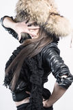 Beautiful lady in fur cap Stock Photo