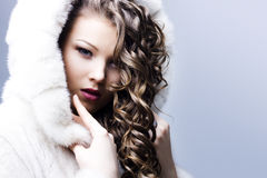 Beautiful lady in fur coat Stock Photography