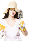 beautiful lady gardener Stock Photo
