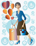 Beautiful lady with gift and balloons. Stock Photo
