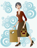 Beautiful lady with gifts. Stock Photo