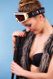 Beautiful lady with goggle. Stock Photos
