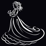 Beautiful lady in a gorgeous dress with a bouquet of flowers royalty free illustration
